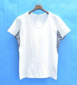 【中古】 VADEL (バデル) draping V-neck S/S vintage dye jersey ヴィンテージジャージ ドロッピング Vネックカットソー 15AW WHITE×NAVY 44 ホワイト×ネイビー 切り替え TEE T-SHIRTS Tシャツ