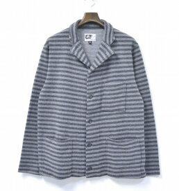 【中古】 ENGINEERED GARMENTS (エンジニアードガーメンツ) Knit Jacket - Wool Jersey ニットジャケット ウールジャージー Grey/Charcoal Stripe M グレー/チャコール ストライプ Border ボーダー Tailored テーラード Cardigan カーディガン