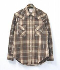 【中古】 BONCOURA (ボンクラ) Flannel Western Shirt (シャドウプレイド) フランネルウエスタンシャツ 14AW BROWN 38 ブラウン PALID CHECK チェック nest clothing store限定 ヴィンテージファブリック VINTAGE FABRIC