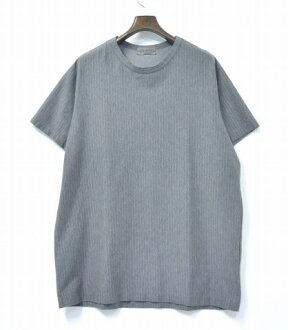 Yohji Yamamoto POUR HOMME(yojiyamamotopuruomu)HO-T05-071皱加工大头针条纹针织16SS GREY 3灰色皱PIN STRIPE TEE T-SHIRTS T恤OVER SIZE超过尺寸BIG大的轮廓
