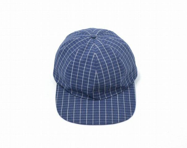 【中古】 SUNSEA (サンシー) BRICK CHECK CAP ブリックチェックキャップ BLUE 17SS 8 PANEL 8パネル 帽子