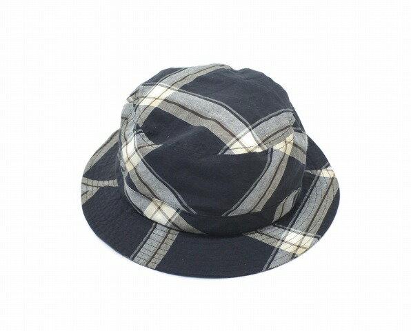 【中古】 SUNSEA (サンシー) CHECK SENOR HAT チェックセニョールハット BLACK CHECK 17SS 帽子