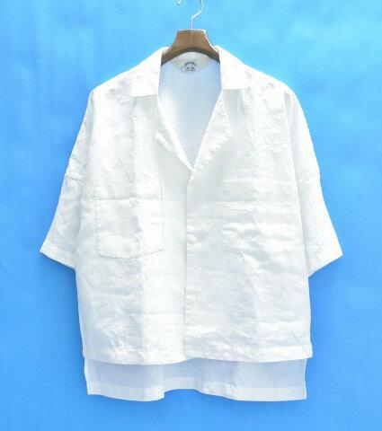 【中古】 SUNSEA (サンシー) Linen Fried Shrimp Shirt リネン半袖シャツ 3 WHITE 17S16 17SS オープンカラー 開襟