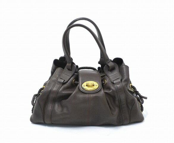 【中古】 MULBERRY (マルベリー) LEATHER BAG レザーバッグ BROWN ハンドバッグ