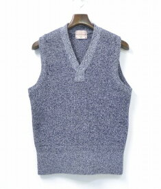 【中古】 BONCOURA (ボンクラ) A-1 Cotton Vest コットンニットベスト Navy 40 ネイビー Knit Sweater セーター DEADSTOCK デッドストック Vintage ヴィンテージ ビンテージ糸 Mix ミックス