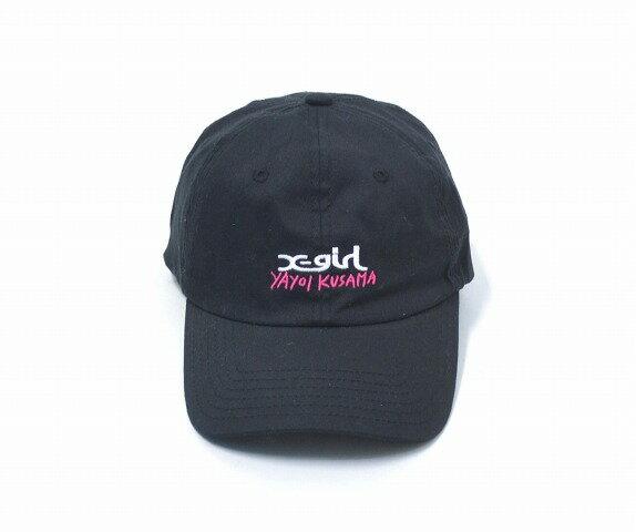 【中古】 X-girl × 草間彌生 (エックスガール×クサマヤヨイ) KUSAMA YAYOI 6PANEL CAP 6パネルキャップ 17SS BLACK ONE SIZE ワンサイズ ブラック LOGO ロゴ刺繍 アジャスター 帽子 弥生