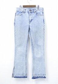 【中古】 X-girl (エックスガール) FLARE DENIM PANTS フレアデニムパンツ 17SS LIGHT INDIGO 1 ライトインディゴ ケミカルウォッシュ SIDE SLIT サイドスリット CUT OFFカットオフ JEANS ジーンズ