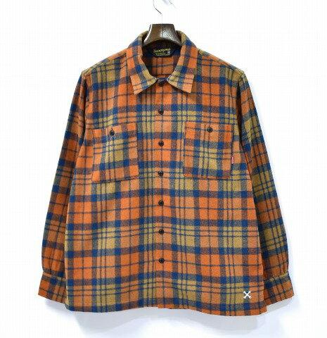 【中古】 BLUCO WORK GARMENT (ブルコ ワークガーメント) HEAVY NEL SHIRTS ヘビーネルシャツ 17AW ORANGE M オレンジ OL-048-017 ヘヴィー CHECK チェック