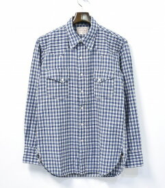 【中古】 BONCOURA (ボンクラ) Western Shirt ウエスタンシャツ 38 Indigo Check インディゴチェック Deadstock デッドストック Vintage Fabric ヴィンテージファブリック