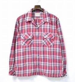 【中古】 BONCOURA (ボンクラ) ONE-UP SHIRTS ワンナップシャツ 38 PINK CHECK ピンクチェック OPEN COLLAR オープンカラー 開襟 RAYON/COTTON レーヨン/コットン