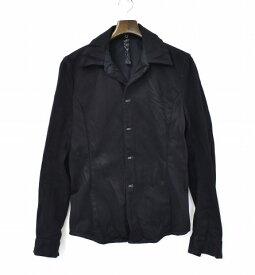 【中古】wjk (ダブルジェイケイ) hook G2-drill 443 dn51 シワ加工 ドリルフックシャツ S BLACK ブラック DENIM SHIRTS JACKET デニムシャツ ジャケット ダヴル ジェーケー