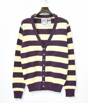 TROVATA(torovata)邊緣編織物對襟毛衣M PURPLE/YELLOW紫/黄色Border Cotton Knit Cardigan棉布Stripe條紋Sweater毛衣TRO-OAT-AME OATDOST(AMETHYST)紫水晶