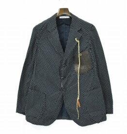 【新品】 LEROY (リロイ) Tailored Jacket DOT テーラードジャケット ドット柄 BLACK 1 3B 3ボタン CORDUROY コーデュロイ