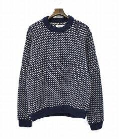 【中古】 L.L.BEAN (エルエルビーン) 80's Bird's-Eye Crewneck Sweater 80sバーズアイクルーネックセーター L NAVY KNIT ニット 80年代 ヴィンテージ ビンテージ MADE IN NORWAY ノルウェー製