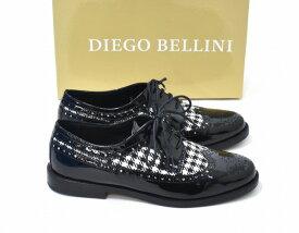 【新品同様】 DIEGO BELLINI×BEAMS (ディエゴ ベリーニ×ビームス) ハウンドトゥースウイングチップドレスシューズ 39 BLACK×WHITE DRESS SHOES エナメル パテント レースアップ 千鳥柄 靴 MADE IN ITALY イタリア製 【中古】