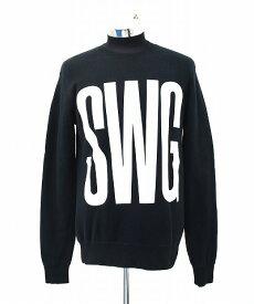 【中古】 SWAGGER (スワッガー) 10TH ANNIVERSARY SWG LOGO SWEAT 10周年記念 ロゴスウェット M BLACK アニバーサリー プリント クルーネック プルオーバー