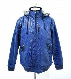 【中古】 MSGR (メッセンジャー) CROCODILE HOOD JACKET クロコダイルフードジャケット L BLUE パーカー MESSENGER エムエスジーアール