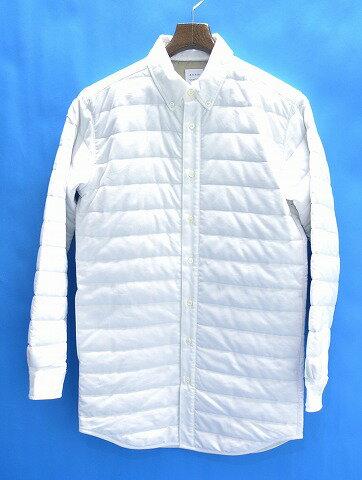 【新品】 Mr.GENTLEMAN (ミスタージェントルマン) QUILTED SHIRT キルテッドシャツ キルティングシャツ ロングシャツ 長袖ボタンダウンシャツ WHITE NO:MGJ‐SH12 M 中綿入り