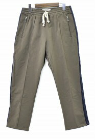 【新品】 Azuma.(アズマ)Jersey Trousers ジャージトラウザーズ トラックパンツ イージーパンツ 側章 サイドラインパンツ KHAKI 0