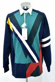 【新品】 FACETASM (ファセッタズム) COLOURFUL MIX RUGBY SHIRT カラフルミックスラガーシャツ ドッキング 長袖シャツ L/S NAVY 4