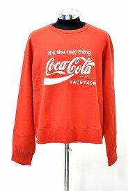 【新品】 FACETASM (ファセッタズム) FACE COCA-COLA XXL SWEAT SHIRT フェイス コカコーラ スウェット シャツ 長袖 トレーナー スエット MADE IN JAPAN 5 RED 別注 コラボ