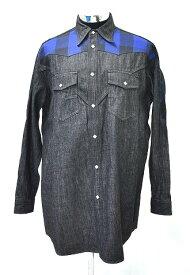 【新品】 FACETASM (ファセッタズム) WESTERN DENIM SHIRT ウエスタンデニムシャツ 長袖シャツ チェック 切替 ロングシャツ BLACK 4 MADE IN JAPAN