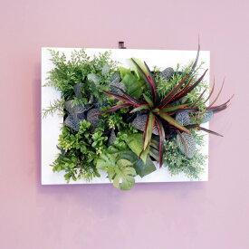 壁掛けグリーンフレーム ドラセナ ホワイト(光触媒)造花・観葉植物・インテリアグリーン・フェイクグリーン・人工観葉植物