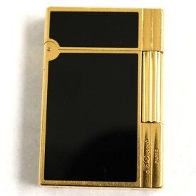 【中古】良品◆デュポン ギャッツビー ロゴ刻印入り ローラータイプ ガスライター ブラックラッカー×ゴールド フランス製 着火確認済み◎