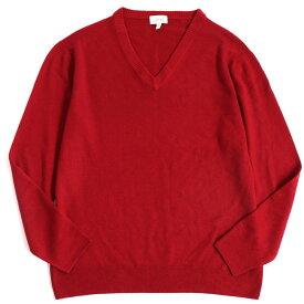 【中古】美品▽Brioni ブリオーニ Vネック カシミヤ100% 長袖 ニット/セーター レッド S イタリア製 正規品 メンズ シンプル◎