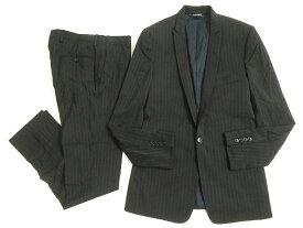 【中古】良品◎ドルチェ&ガッバーナ 黒タグ GOLD ストライプ柄 シングルスーツ ブラック 46 正規品 伊製 ガーメント付 ビジネスシーン◎