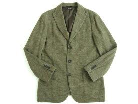 【中古】美品★ジョルジオアルマーニ UPTON カシミヤ97% シングルジャケット ブラウン ヘリンボーン柄 52 イタリア製 正規品