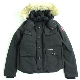 【中古】美品□カナダグース ラッセル 2301JM ロゴワッペン付き フード ダウンジャケット ブラック S カナダ製 正規品 メンズ