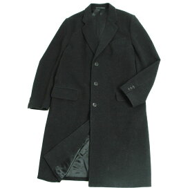 【中古】良品▽アルマーニ コレツィオーニ ウール100% チェスターコート/ロングコート ブラック 50 イタリア製 正規品 メンズ
