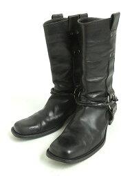 品質優良的貨物★bottegaveneta BOTTEGA VENETA intorechato·皮帶設計皮革短長筒靴黑色41 1/2意大利製造人
