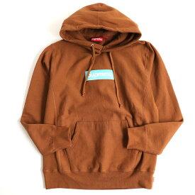 【中古】美品◆17AW SUPREME シュプリーム Box Logo/ボックスロゴ コットン100% プルオーバー/パーカー ブラウン Medium 正規品 カナダ製 メンズ