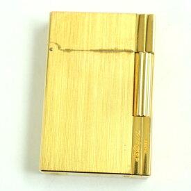 【中古】良品◆2 S.T.Dupont デュポン ギャッツビー ロゴ刻印入り ローラータイプ ガスライター ゴールド フランス製 着火確認済み◎