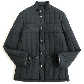 【中古】美品◆dunhill ダンヒル レザー使い ロゴボタン付き レザー使い 中綿入りジャケット ブラック S(L fit) 正規品 ポルトガル製 メンズ