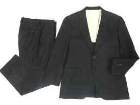 【中古】美品▼ポールスミスロンドン Paul Smith LONDON シルク混 ストライプ柄 シングルスーツ ブラック M2 日本製 正規品