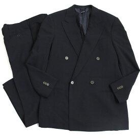 【中古】美品◆最高級ライン ジョルジオアルマーニ・クラシコ 青ラベル BORGO21 ウール100% ダブルスーツ ブラック 48 正規品 イタリア製