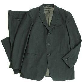 【中古】良品▽黒タグ GIORGIO ARMANI ジョルジオアルマーニ シルク混 シングルスーツ ブラック 54 イタリア製 正規品 メンズ ビジネス◎