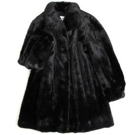 【中古】極美品▼Nakamura Fur MINK ナカムラファー ミンク 逆毛 本毛皮コート ブラック 毛質艶やか・柔らか◎