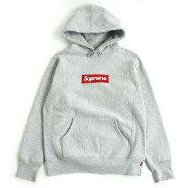 【中古】極美品□16AW シュプリーム Box Logo Hooded Sweatshirt 裏起毛 フーディー/プルオーバーパーカー グレー S カナダ製 正規品 メンズ