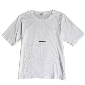 【中古】美品◆2017年製 SAINT LAURENT PARIS サンローランパリ 460876 フロントロゴプリント 半袖 コットンTシャツ 白 XS 正規品 伊製 メンズ