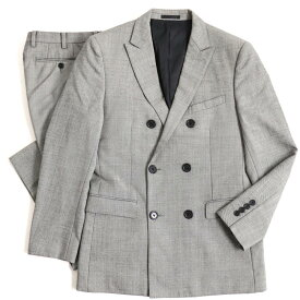 【中古】美品▽バーバリーブラックレーベル ピークドラペル ウール100% ダブルスーツ グレー 92-76-170 38R 正規品 メンズ