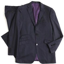 【中古】美品▽バーバリーブラックレーベル チェンジポケット ストライプ柄 シングルスーツ ブラック×パープル 96-80-180 42R 正規品 メンズ