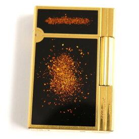 【中古】良品◆デュポン ギャッツビー 金粉・ロゴ刻印入り ローラータイプ ガスライター ゴールド×ブラック フランス製 着火確認済み◎