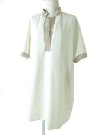 【中古】極美品◇正規品 フォクシー ニューヨーク コレクション 16年 35646 GROSGRAIN MIX MEDIA TUNIC Dress バックZIP ワンピース ホワイト 38