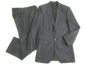未使用品▽黒タグ DOLCE&GABBANA ドルチェ&ガッバーナ 織柄 シングルスーツ ネイビー 44 イタリア製 ビジネスシーンなど◎【中古】