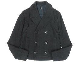 【中古】美品▼DIOR HOMME ディオールオム ロゴボタン ウールショートPコート/ジャケット ブラック 46 イタリア製 正規品