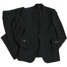 【中古】極美品◆GIORGIO ARMANI ジョルジオアルマーニ 黒タグ BORGO21 ストライプ柄 シングルスーツ ブラック 52 正規品 イタリア製